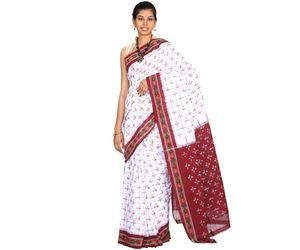 White and Maroon Pochampally Or Ikat Cotton Handloom saree with contrast Border i0224