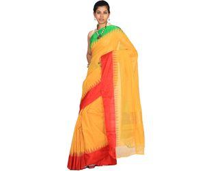 Yellow Khadi Cotton Handloom Saree Ganga-Jamuna Border kh0119