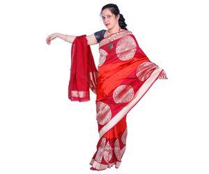 Red Banarasi silk saree chakram design