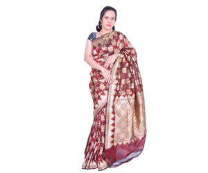 Brown Banarasi silk saree all over design with temple border