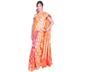 Orange Banarasi silk saree all over design with temple border