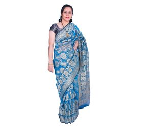 Blue Banarasi silk saree zigzag border all over design