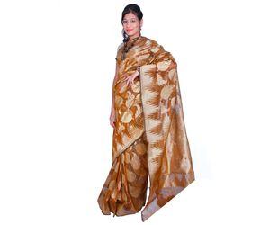 Bronze Banarasi silk saree temple border mango all over