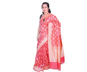 Pink Banarasi silk saree all over flower design
