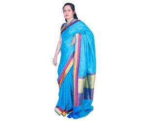 Blue Banarasi silk saree banaras rich pallu design