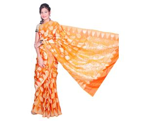 Orange Banarasi silk saree all over mango design border big temple