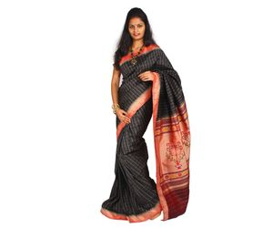 Black Pure Handloom Paithani Silk Saree with Blouse