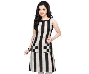 Black Double Ikat Readymade Pure Pochampally Ikat Handloom Cotton Tunic