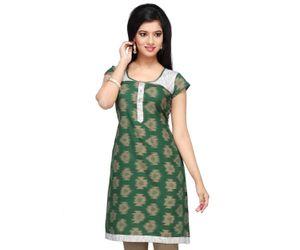 Dark Green Single Ikat Readymade Pure Pochampally Ikat Handloom Cotton Tunic