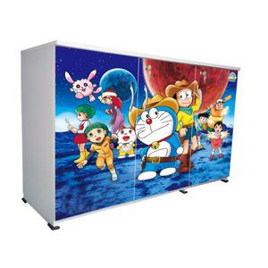 BigSmile 3 Door Multipurpose Storage Cabinet - Cartoon Dora (2.5ft x 4ft) Glossy Finish