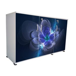 BigSmile 3 Door Multipurpose Storage Cabinet - Blue Flower (2.5ft x 4ft) Glossy Finish