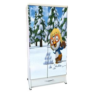 BigSmile Kids Wardrobe - Crazy Penguin (5.5ft x 2.5ft) Glossy Finish
