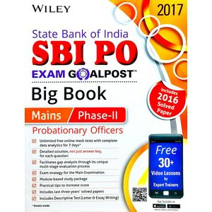 Wiley'S State Bank Of India Probationary Officers Sbi Po Exam Goalpost Big Book Mains Phase 2 Includes 2016 Solved Paper By Editorial Team-(English)