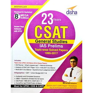 23 Years Csat General Studies Ias Prelims Topic-Wise Solved Papers 1995-2017 By Disha Experts-(English)