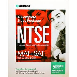 A Complete Study Package Ntse Mat + Sat For Class 10 With 5 Practice Sets & Solved Papers 2016-2017 By Arihant Experts-(English)