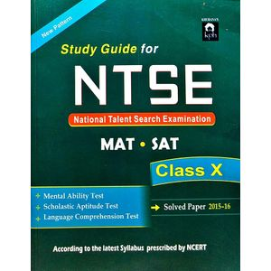 Study Guide For Ntse Class 10 Mat Sat With Solved Paper 2015-2016 By Editorial Team-(English)