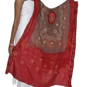 Red & Brown Cotton Bandhani Dupatta