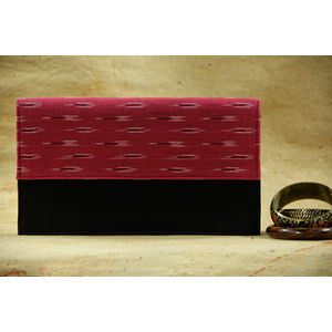 Black rectangular clutch with Pink and White Ikat Flap (Hard bound)