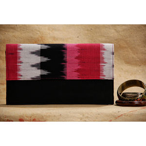 Black rectangular clutch with Pink and Black Ikat Flap (Hard base)