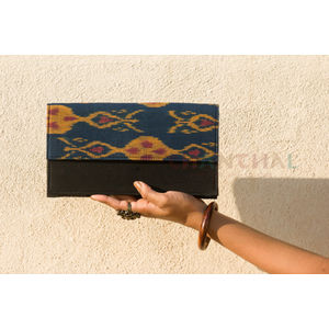 Black rectangular clutch with Blue and Mustard Ikat Flap (Hard base)