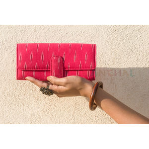 Pink and White Small Clutch