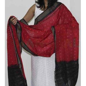 Red & Black Cotton Ikat Dupatta