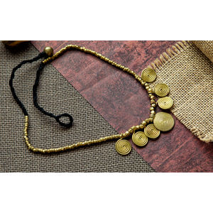 Hand-crafted Dokra -Small Spiral Pendant with Golden beads