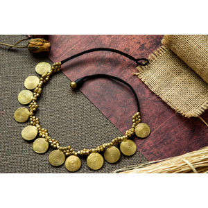 Hand-crafted Dokra - Spiral Pendants with Golden beads