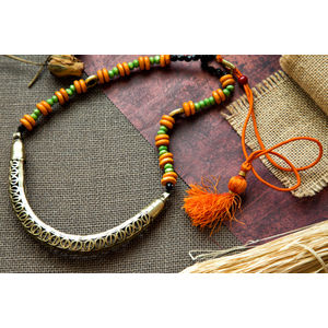 Hand-crafted Dokra in Hasli Style with Green & Orange beads