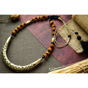 Hand-crafted Dokra in Hasli Style with Orange & Black beads
