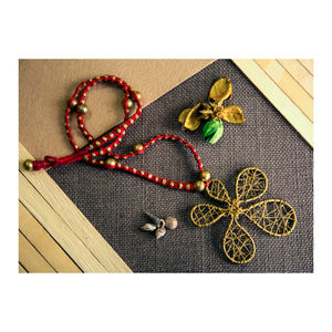 Hand-crafted Dokra - Flower Shape pendant