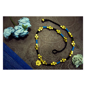 Hand-crafted Dokra-  Golden Beads in Blue and Black Threads