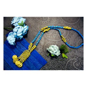 Hand-crafted Dokra- Antique Neckpiece in Sky Blue Dori