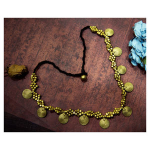 Hand-crafted Dokra- Spiral Coins with Golden Beads