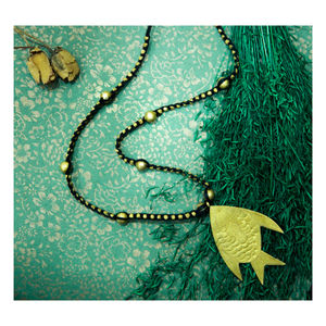 Hand-crafted Dokra- Fish Pendant With Golden Beads