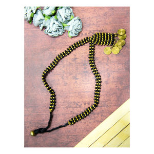 Hand-crafted Dokra- Coins Pendant in Golden and Black Beads