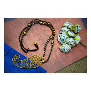 Hand-crafted Dokra- Paisley Pendant in Golden Beads