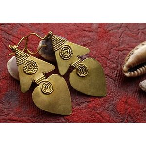 Dokra Earring - Heart with Spiral