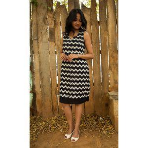 Black & White Linen Ikat Dress