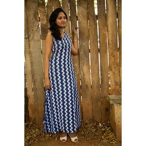 Blue & White Linen Ikat Dress
