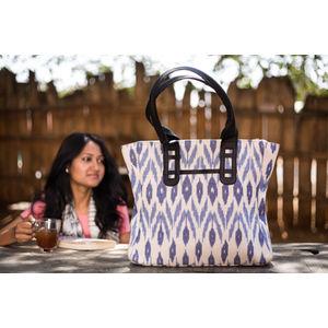 White & Blue Ikat Tote-Bag