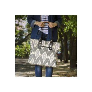 Grey & White Ikat Tote-Bag