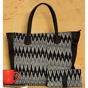 Black & Grey Ikat Big Tote Bag