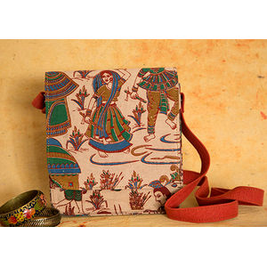 Cream village scene kalamkari sling bag