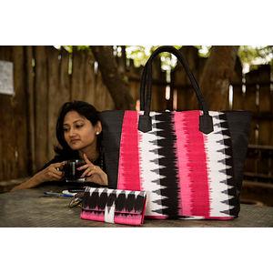 Black & Pink Ikat Big Tote Bag