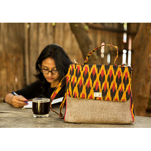 Red & Mustard Ikat Jute Bag