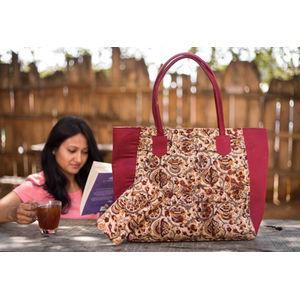 Maroon & Cream Flower Kalamkari Big Tote Bag