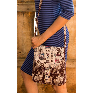 Brown & Cream Kalamkari Combination Sling Bag