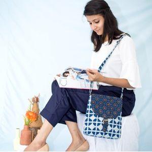 Indigo Ajrakh Combination Sling Bag