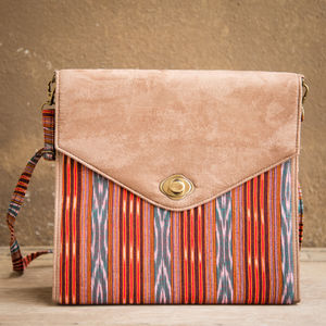 Red and Green Ikat Suede Bag